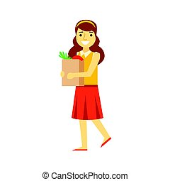 Smiling young woman carrying a brown shopping bag with healthy food. Shopping in grocery store, supermarket or retail shop. Colorful character vector Illustration