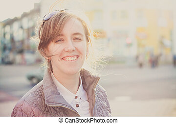 Smiling young woman girl outddor portrait