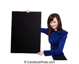 Smiling young woman holding a blank board