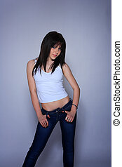 young woman in jeans and t shirt