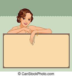 Smiling young woman leaning against a blank board in retro...