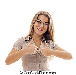 Smiling young woman lifts thumbs up