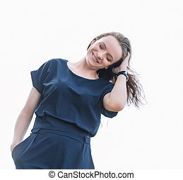 smiling young woman .photo with copy space