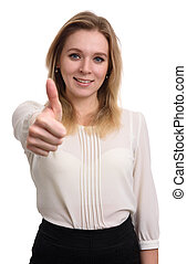 smiling young woman showing her thumbs up
