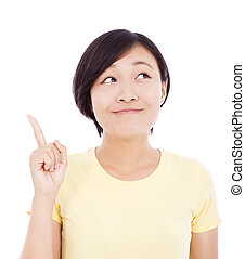 smiling young woman standing and make a gesture