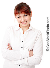 smiling young woman with arms crossed
