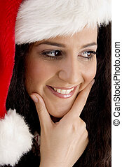smiling young woman with christmas hat