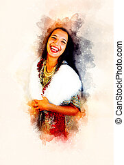 Smiling Young woman with ornamental dress and white fur and softly blurred watercolor background.