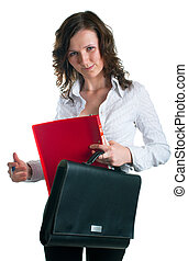 women in a business suit with a folder