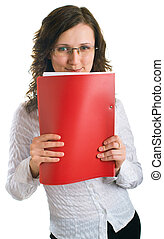 Smiling young women with a folder