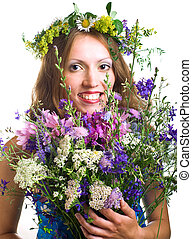 smiling young women with flowers