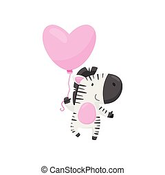 Smiling zebra with pink heart-shaped balloon. Cartoon character of wild animal. Love theme. Flat vector design
