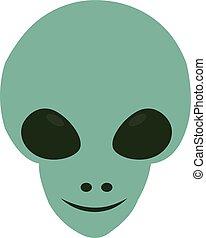 Smilling alien, illustration, vector on white background.