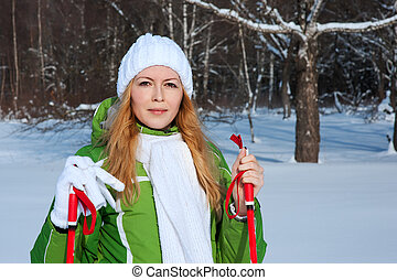 smilling, floresta, mulher, inverno, jovem