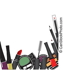 smink, isolerat, vektor, kosmetika, bakgrund, illustrationer, vit