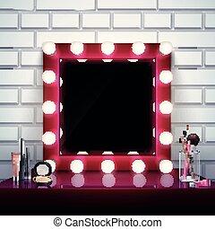 smink, komposition, spegel