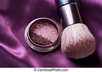 smink, make-up., bakgrund, tillbehör