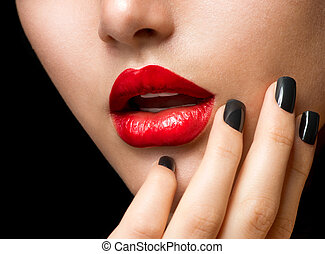 smink, och, manicure., svart, fingernagel, och, röd läpp