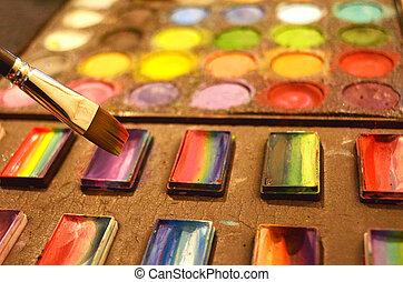 smink, uppsyn måla, artist, färger, utrustning, med, borsta