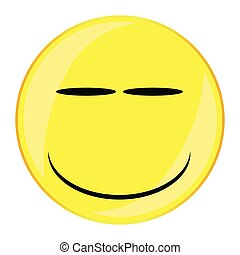 Smirk Smile Face Button Isolated