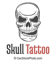 Smirking and scary human skull tattoo with grin and teeth....
