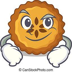 Smirking apple pie on a cartoon table