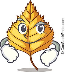 Smirking birch leaf isolated in the character vector...