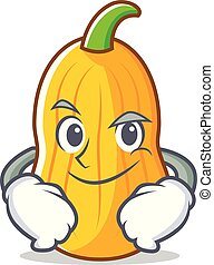 Smirking butternut squash character cartoon vector...