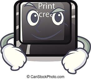 Smirking button print screen in shape mascot