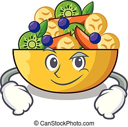 Smirking cartoon bowl healthy fresh fruit salad