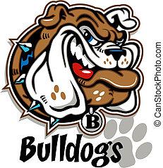smirking cartoon bulldog face with collar
