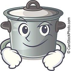 Smirking cartoon cookware stock pot in kitchen vector...