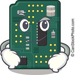 Smirking circuit board pcb in cartoon shape vector...
