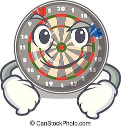 Smirking dartboard in the shape of mascot
