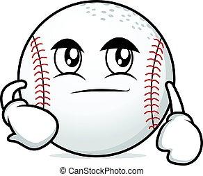 Smirking face baseball character cartoon