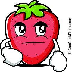 Smirking face strawberry cartoon character