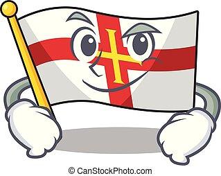 Smirking flag guernsey with the cartoon shape vector illustration