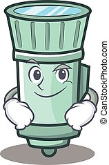 Smirking flashlight cartoon character style