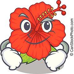 Smirking flower hambiscus in a cartoon pot