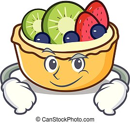 Smirking fruit tart character cartoon