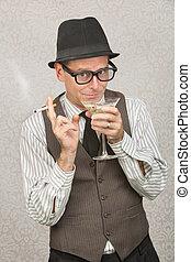 smirking, homem, sipping, martini