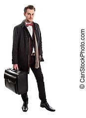 smirking, homme affaires, à, grand, serviette, mouvement