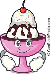 Smirking ice cream sundae character cartoon vector...