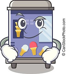 Smirking ice cream vending machine isolated the cartoon