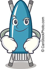 Smirking iron board character cartoon vector illustration