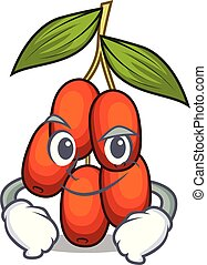 Smirking jujube fruit isolated with the cartoon vector illustration