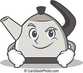 Smirking kettle character cartoon style