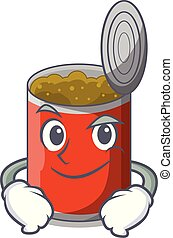 Smirking metal food cans on a cartoon vector illustration