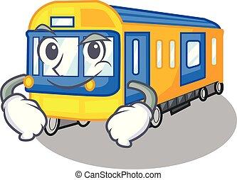smirking, metro trein, speelgoed, in vorm, mascotte