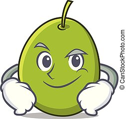 Smirking olive character cartoon style